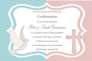 Personalised Confirmation Invitations Boy Girl Twins New Design 1